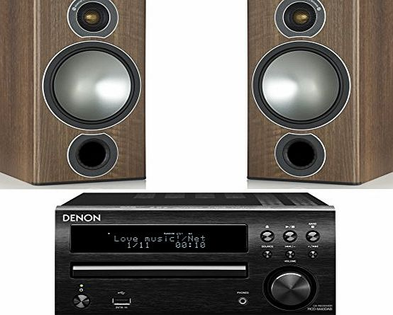 Denon DM40DAB Micro System with Monitor Audio Bronze 2 Speakers (Black System, Walnut Speakers)