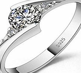 Designer Inspired Halo 1.25 Carat Simulated Diamond Ring Sterling Silver 925 (O)