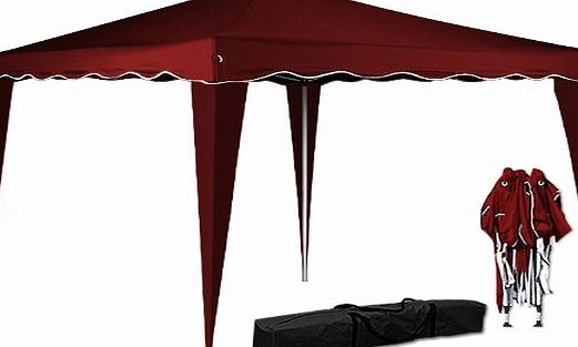 Deuba Pop Up Gazebo 3m x 3m Folding Garden Marquee Tent Awning Canopy Side Panels Red