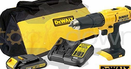 DEWALT  18v XR Cordless Lithium Combi Drill amp; Driver, With Hammer Action Facility Complete With Lithium Battery, Fast Charger amp; Canvas Carry Bag.