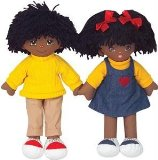 Multicultural African 20` Girl and Boy Rag Doll