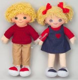 Multicultural Caucasian 20` Girl and Boy Rag Doll