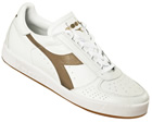 Borg Elite White/Gold Leather Trainers