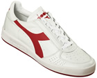 Borg Elite White/Red Leather Trainers
