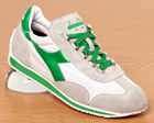 Equipe White/Green Stonewashed Trainers