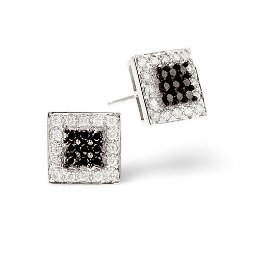 14K Gold Walt Disney Childrens Pink Square Cubic Zirconia Studs