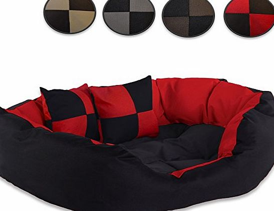 dibea Dog bed warm basket cushio cat bed tearproff waterproof with pillow (65x50x20 cm, red / black)