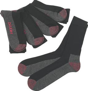 Dickies, 1228[^]49250 Cushion Crew Socks 5 Pairs Black Size