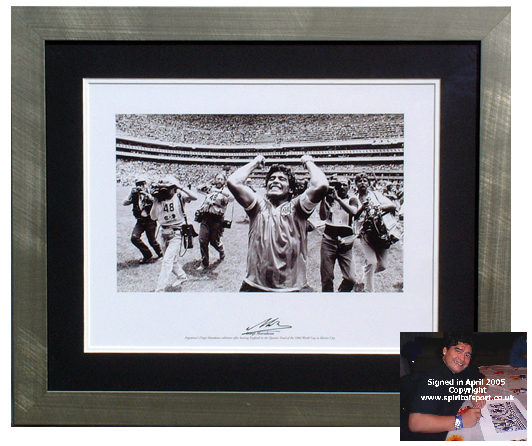 Diego Maradona - Signed and framed 86 World Cup photo print
