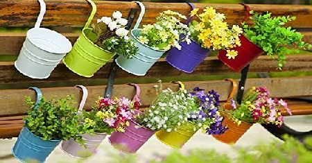 Dipamkar Set of 10 Metal Hanging Flower Pots With Drainage Hole Flower Bucket Balcony Planter Garden Home Ornaments