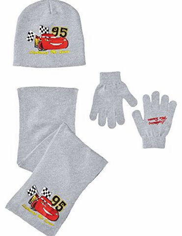 Boys Cars NH4085 Scarf Hat and Glove Set, Light Grey Melange, 52 cm