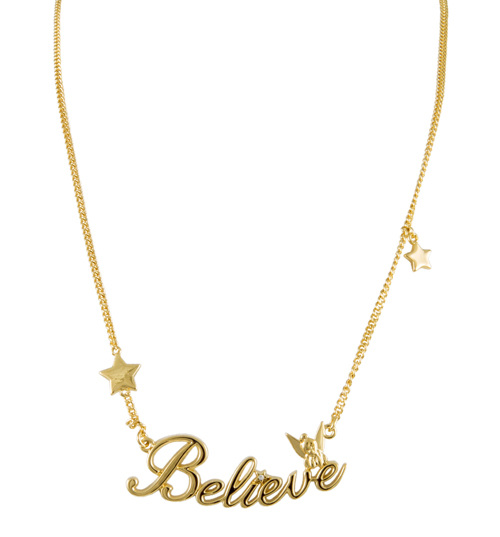 Disney Couture 14ct Gold Plated Believe Tinkerbell Necklace