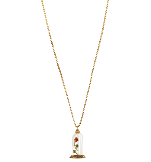 Disney Couture Beauty and the Beast Rose Dome Necklace from