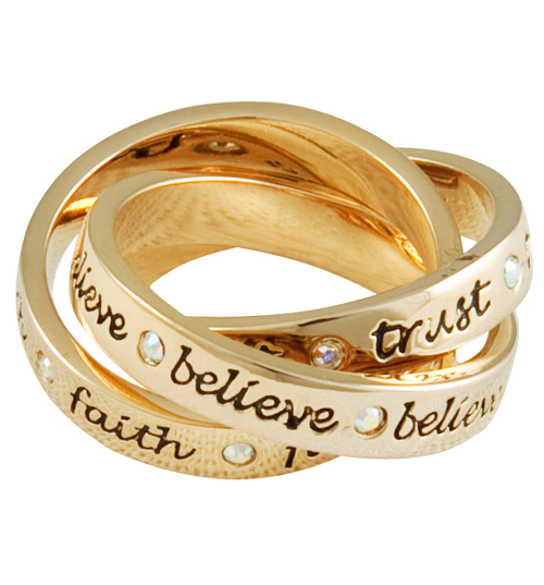 Disney Couture Gold Plated Three Piece Tinkerbell Ring from product image