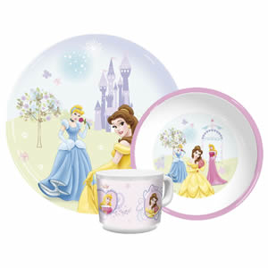 Disney Princess Mug Bowl and Plate Set - Crowned