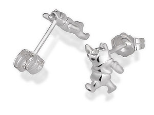 Silver Walking Winnie the Pooh Earrings