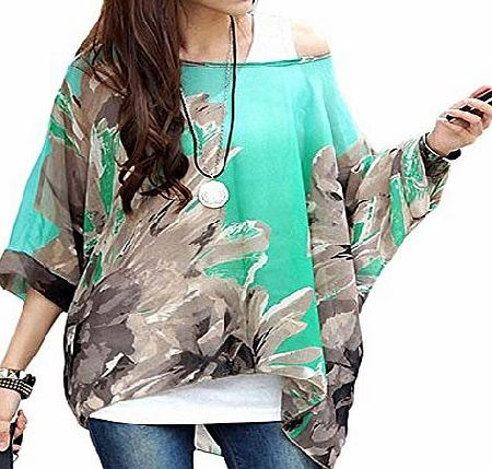 DJT Floral Batwing Sleeve Plus Chiffon Blouse Womens Loose Off Shoulder T-Shirt Tops Black Red Butterfly product image