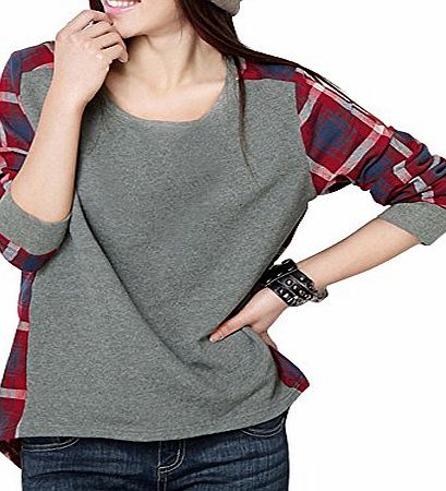 DJT Ladies Cosy Tee Women Plaid Checked Long Sleeve Slim Tunic Shirt Top Blouse T-shirt Size L 12 14
