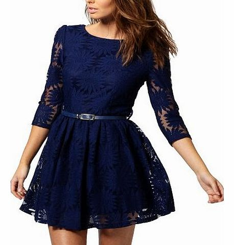 DJT Womens Ladies Elegant Floral Lace Cocktail Party Prom Formal Evening Blue Dress Size XXS 4 product image