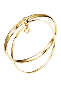 DKNY Circles Gold Plated and Leather Double