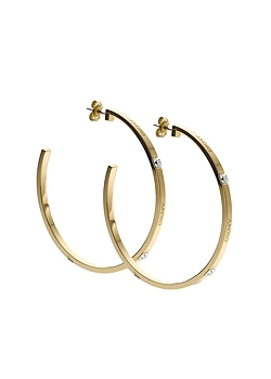 DKNY Steel Charming Logo Hoop Earrings NJ1406040