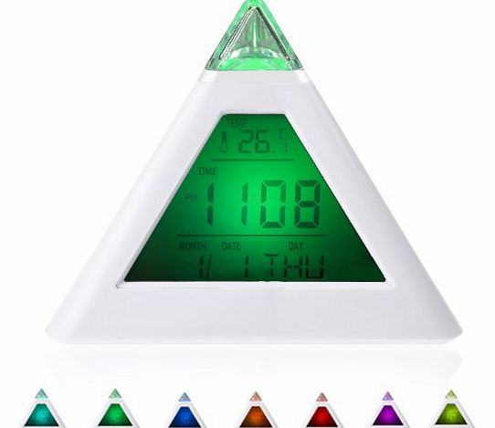 7 LED Color Changing Pyramid Digital LCD Alarm Clock Thermometer C/F(Style 6 Pyramid 7 Color Clock)