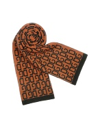 Black and Rust Orange Logoed Knit Long Scarf