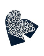 Dark Blue and White All Over Logoed Knit Long Scarf