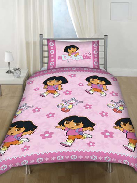 Dora the explorer duvet cover and pillowcase pink flowers for Dora the explorer bedroom ideas