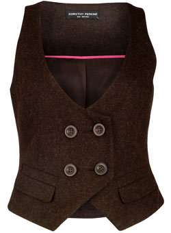 Dorothy Perkins Chocolate flannel waistcoat