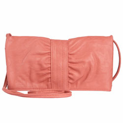 Coral ruched cross body bag