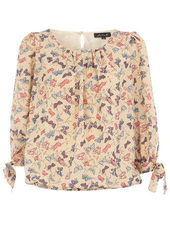 Cream Butterfly Print Blouse 92