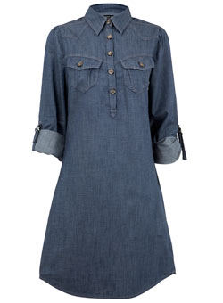 Denim Dress on Mid Wash Denim Chambray Dress With Western Shirt Styling  100 Cotton