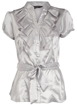 Dorothy Perkins Silver satin tie blouse