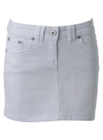 Womens White Denim Skirt