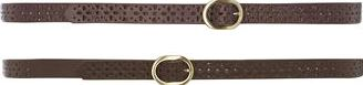 Dorothy Perkins, 1134[^]262015000713254 Womens 2 skinny Plum and Chocolate Belts- Purple