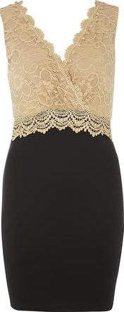 Dorothy Perkins, 1134[^]262015000711231 Womens AX Paris Camel lace wrap over dress-