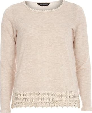Dorothy Perkins, 1134[^]262015000707858 Womens Beige lace trim jersey knit Top- Beige