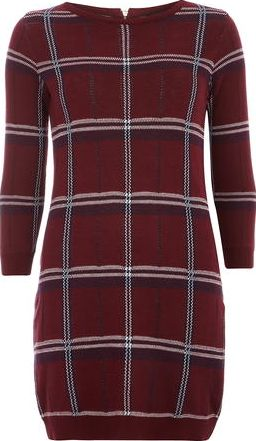 Dorothy Perkins, 1134[^]262015000711786 Womens Berry Check Tunic- Red DP55328088