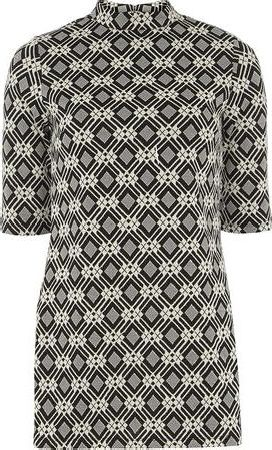 Dorothy Perkins, 1134[^]262015000708491 Womens Black And White Jacquard Tunic- Black