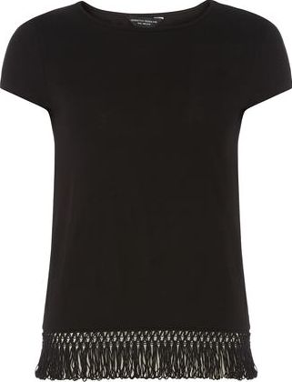 Dorothy Perkins, 1134[^]262015000709495 Womens Black Fringe Hem T shirt- Black DP56452910