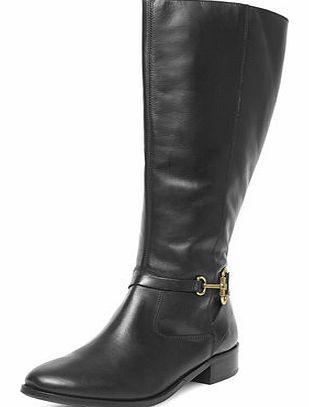 Dorothy Perkins Womens Black leather riding boots- Black