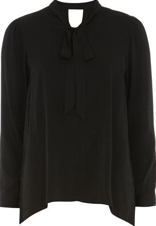 Dorothy Perkins, 1134[^]262015000705854 Womens Black Long Line Pussybow Shirt- Black