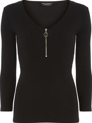 Dorothy Perkins, 1134[^]262015000714211 Womens Black Rib Zip V Neck Top- Black DP56453110