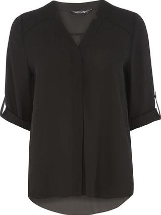 Dorothy Perkins, 1134[^]262015000717087 Womens Black Roll Sleeve Shirt- Black DP05603901