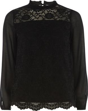 Dorothy Perkins, 1134[^]262015000705980 Womens Black Scallop Lace Top- Black DP05601501
