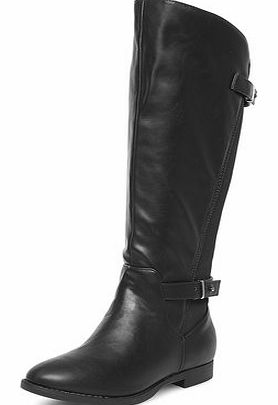 Dorothy Perkins Womens Black wide fit elastic boots- Black