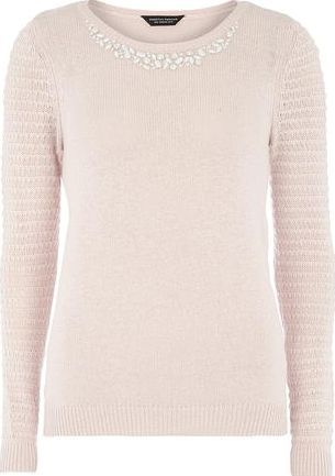 Dorothy Perkins, 1134[^]262015000717030 Womens Blush Embellished Neck Jumper- Pink