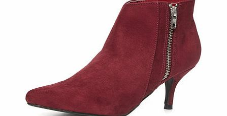 Dorothy Perkins Womens Bordeaux pointed ankle boots- Red