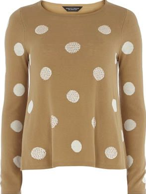 Dorothy Perkins, 1134[^]262015000706142 Womens Camel Spot Sparkle Swing Jumpe- White